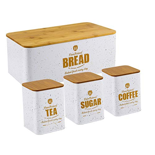 HausRoland Bread Box for Kitchen Counter Stainless Steel Bread Bin Storage Container For Loaves Pastries Dry Food (White, Square)