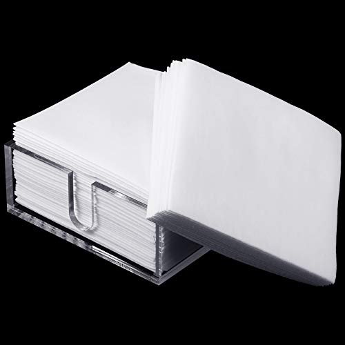 Acrylic Napkin Holder with 50 Count Cocktail Napkin Paper, Bathroom Clear Napkins Holder, Table Top Decorative Napkin Tray for Dining Table and Kitchen 5 x 5 Inches