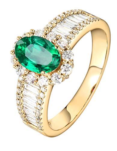 KnSam Joyas-Amor Eterno &Anillo de Boda de Oro 18 Kilate Anillo de Diamante 0.85CT de 18K de Oro Anillo de Oro de la Talla de 21