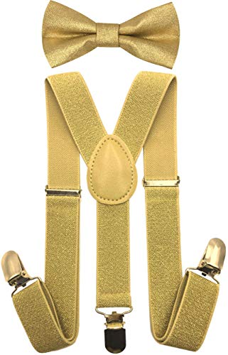 CD Kids, Toddlers Suspender and Bow Tie Set, Adjustable Set and Colors for Boys and Girls (Metallic Gold)