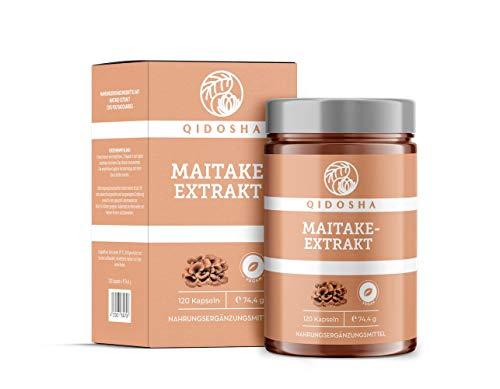 QIDOSHA Maitake Extrakt Kapseln hochdosiert 500mg Maitake Extrakt pro Kapsel aus Premium Maitake Pilz, vegan, laborgeprüft, 120 Kapseln im Glas