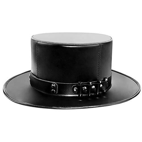Duduta PU Leather Flat Top Hat, Black Victorian Steampunk Hat Costume Dress Up Hat