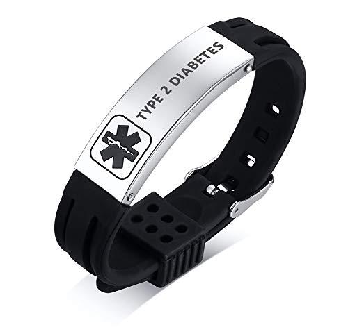 PJ JEWELLERY Type 2 Diabetes Silicone Comfort Sport Wristband Emergency Medical Alert ID Bracelet for Men Women Kid
