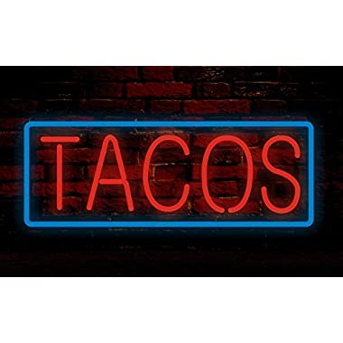 Prang-US Tacos Neon Signs 24×10 inch, Real Neon Signs made with Glass Tubes, Brilliant Neon Open Sign. Eye-catching Neon Beer Sign.