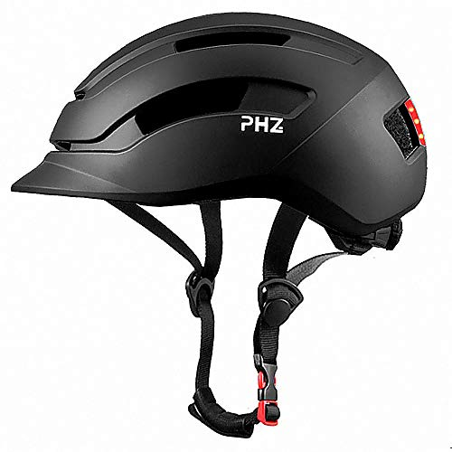 PHZ Adult Bike Helmet with Rear Light for Urban Commuter Adjustable for Men/Women Black Large
