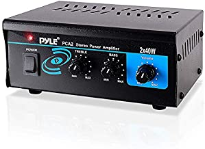 Home Audio Power Amplifier System 2X40W Mini Dual Channel Sound Stereo Receiver Box w/ LED For Amplified Speakers, CD Player, Theater via 3.5mm RCA for Studio, Home Use Pyle PCA2