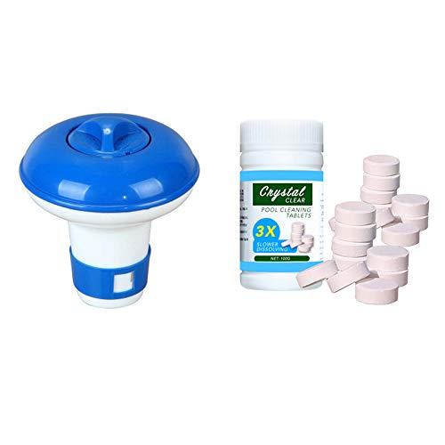 KKmoon Chlor Dosierschwimmer Chemikalienschwimmer mit 100 Stück Chlortabletten Reinigungstabletten Pool Reinigungsset Float Spender Kit für Schwimmbad Pool