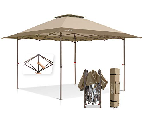 EAGLE PEAK 13'x13' Straight Leg Pop Up Canopy Tent Instant Outdoor Canopy Easy Single Person Set-up Folding Shelter w/Auto Extending Eaves 169 Square Feet of Shade (Beige/Brown)
