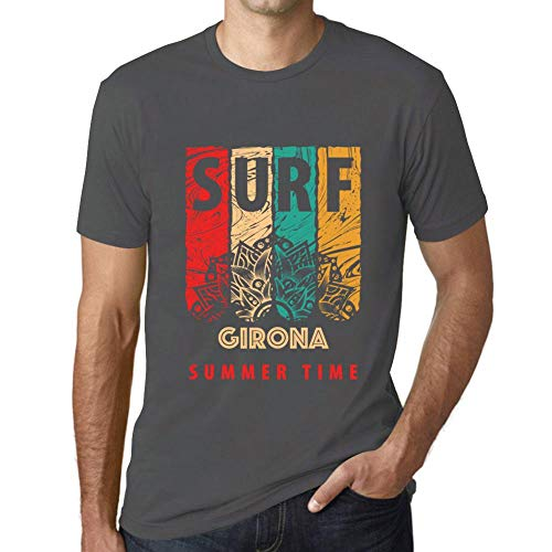 One in the City Hombre Camiseta Vintage T-Shirt Gráfico Surf Summer Time GIRONA Ratón Gris