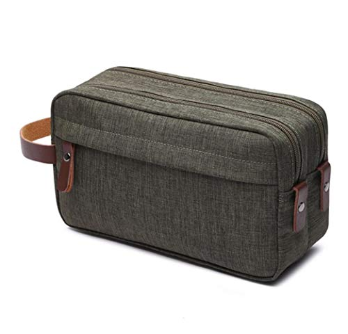 Tumecos Toiletry Bag Dopp Kit Leather Waxed Canvas Travel Toiletry Organizer Bag (Army Green 1)