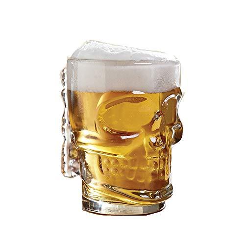 UKE Glas-Bierkrug, Kreative 3D-Glas-Bierkrüge Mit Griffen 400 Ml Großes Craft Bierglas Mundgeblasenem Hoch Borosilikat-Glas Für Bier Saft