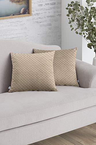 Easycosy - Pack Funda de Cojín Decorativo Adele para Sofá - 45x45 - Tejido Acolchado - Ideal para Decorar su sofá - Color Beige.
