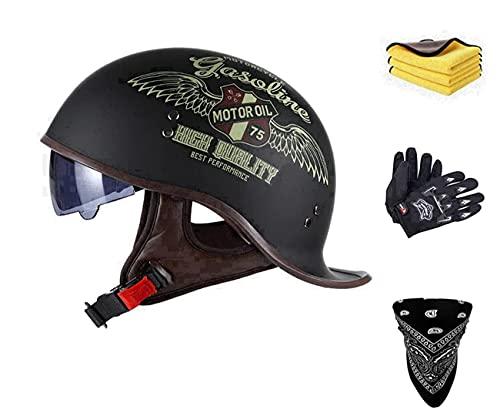 Casco semiintegral unisex retro, casco semirrígido, casco abierto, casco semiabierto para cruiser, chopper, scooter, ciclomotor, ciclista, homologado ECE (B, M)