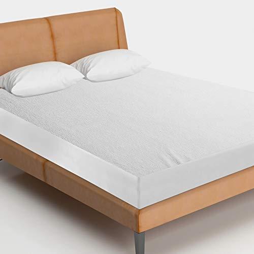 Highliving® Impermeable toalla de Terry Protector de colchón Topper, antialérgico, no hace ruido 12pulgada de profundidad, matrimonio