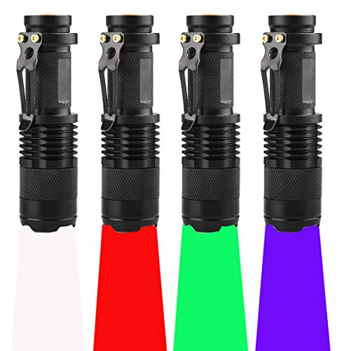 (Pack of 4) 4 Color Light Single Mode Flashlight: Red Light Flashlight, Green Light Flashlight, Blue Light Flashlight, Cool White Light Flashlight for Night Observation, Hunting, Fishing(4 PCS)