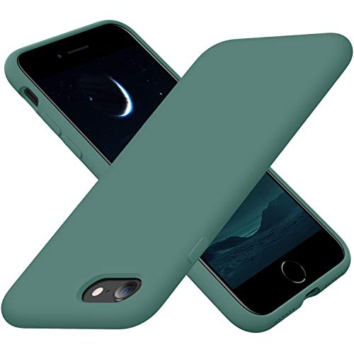 Cordking iPhone SE 2020 Case, iPhone 7 8 Case, Silicone Ultra Slim Shockproof Phone Case with [Soft Microfiber Lining], 4.7 inch, Midnight Green