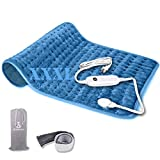 Heating Pad, Ultra-Large Heating Pads for Back Pain Auto Shut Off, Fast Heating Technology, Six Heat Settings, Machine-Washable, Micro Plush/Soft Touch, Elastic Band and Storage Bag Included…