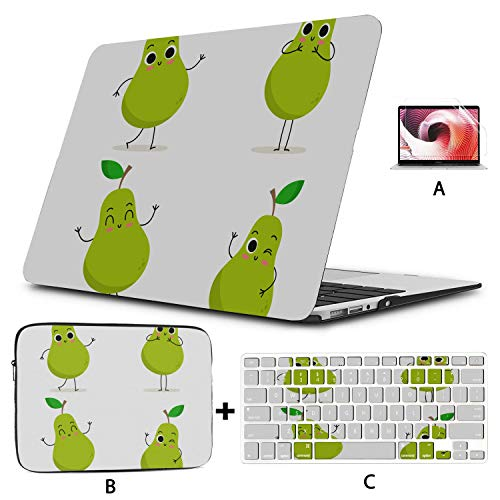 MacBook Air 13 Accessories Pear Cute Fruit Vector Character Set Laptop Covers Hard Shell Mac Air 11'/13' Pro 13'/15'/16' with Notebook Sleeve Bag for MacBook 2008-2020 Version
