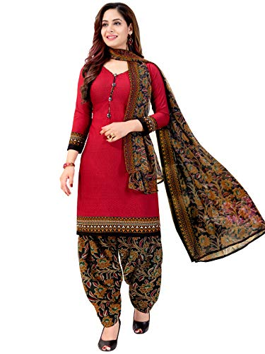 Rajnandini Women's Red Cotton Printed Unstitched Salwar Suit Material With Printed Dupatta (Free Size)