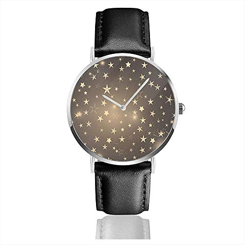 Armbanduhr, eleganter Rahmen mit goldenen Sternen und Blitzen Business Casual Fashion Lederuhren Pu Strap Schwarz