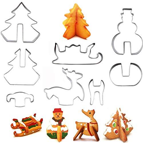 OYEFLY 8 Stück Plätzchen Ausstecher 3D Weihnachten Ausstechformen Edelstahl Ausstecher Set für Keks, Fondant Ausstecher Backzubehör für Weihnachten Torten Kekse Backen Küche Zubehör (Stil 2)