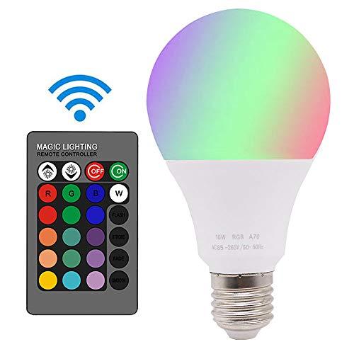 Xindaxin® Glühbirne mit Fernbedienung Farbwechsel Farbige Leuchtmittel LED Lampe Edison Dimmbare Farbige Leuchtmitte 10W E27 RGB LED Birnen - 16 Farben,1er-Pack