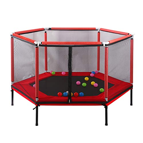 JCJ Fitness trampoline, indoor kinderen trampoline spel met beschermende net verhogen veiligheid ontwerp rebound bal trampoline, 59inch bounce bed (L × W × H) 61.8 × 31.5 × 43.3inch