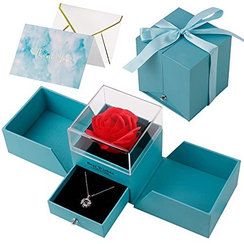 HMGDFUE Rosa Stabilizzata, Rosa Eterna con Ti Amo Confezione Regalo Collana Rosa Regalo per Festa della Mamma, San Valentino, Anniversario di Matrimonio, Compleanno, Anniversario.