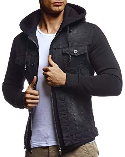 Leif Nelson Herren Jeansjacke schwarz Freizeitjacke Denim Vintage Jeans Jacke für Männer mit Kapuze Slim Fit Hoodie Kapuzenjacke verwaschen Casual Schwarz Small