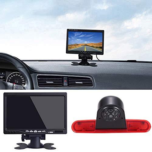 Auto Dritte Dach Top Mount Bremsleuchte Kamera Bremslicht Rückfahrkamera Rückfahrsystem Einparkhilfe Transporter+7 Zoll TFT LCD Monitor für FIAT Doblo 263 Van(2010-Present)/Opel Combo(2011-2018)