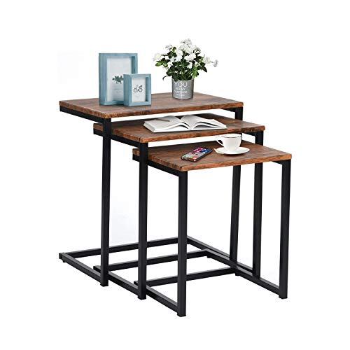 FurnitureR Mesas de anidación industriales Juego de Mesa de café para Sala de Estar de 3 mesas Laterales apilables Mesitas de Noche Mesas de Noche Vintag
