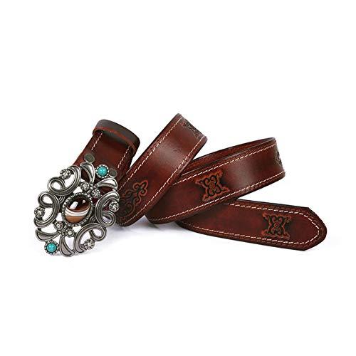 Zhenz Cinturón Femenino Cinturón de Viento Nacional de la Hebilla de Piedra Cinturón de los Hombres Anillo de Piedra Hebilla del cinturón Cinturón gótico Retro,Brown,110cm