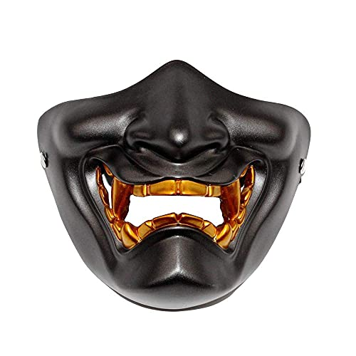 N\C Halloween Cosplay Samurai Mask Funny Half Mask Party Costume Happy Halloween Props Cosplay Mask Festival Gift Halloween Decoration for Adults LKWK