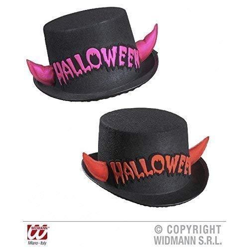 Lively Moments Cylindre en Pack Double/Chapeau en Noir avec Cornes et Inscription en Rose et Rouge/ Halloween/Carnaval/Halloweenzylinder