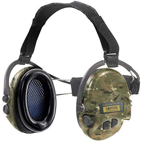 Sordin Supreme Pro X Neckband Cascos - Auriculares Ultrafinos Electrónicos | Orejeras de Protección Auditiva | Diseño Extraplano para Cazadores - Tiradores y Aficionados a la Caza - 76302-X-06