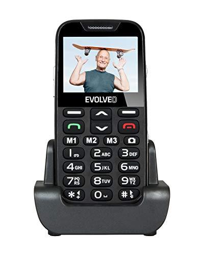 EVOLVEO EP-600-XDR Seniorenhandy ohne Vertrag für Rentner mit Großen Tasten für einfaches bedienen   Mit Ladestation und Notruftaste – Schwarz Silberner