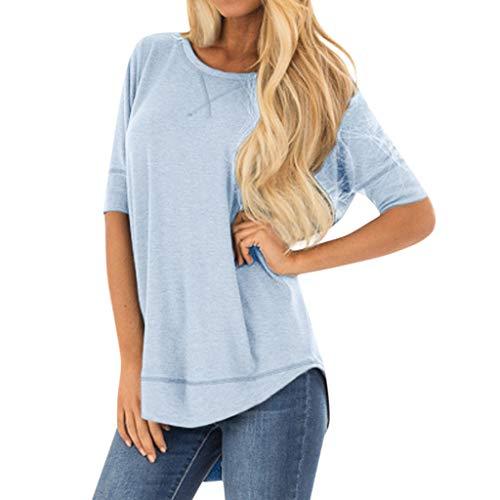 Kviklo Damen Plus Size T-Shirt Kurzarm O-Neck Nähte Solide Einfarbig Tops Oversize(2XL(46-48),Blau)
