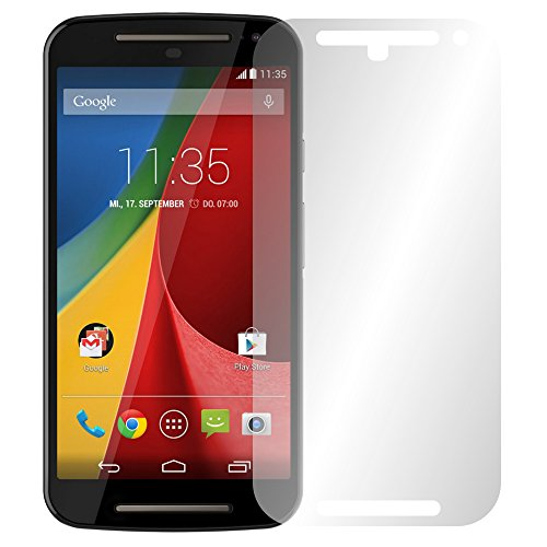 Slabo 4 x Bildschirmschutzfolie Motorola Moto G 2. Generation Bildschirmschutz Schutzfolie Folie Crystal Clear unsichtbar MADE IN GERMANY