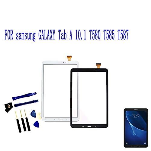 Kit de repuesto de pantalla compatible con Samsung Galaxy Tab A 10.1 2016 T580 T585 T587 digitalizador de pantalla táctil, panel de cristal para tableta, kit de reparación (color: negro)