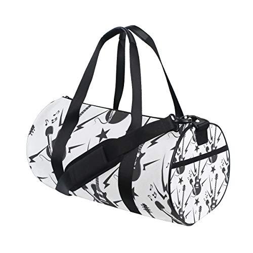 ZOMOY Sporttasche,Rock Musik Pattern Gitarren Mikrofone,Neue Druckzylinder Sporttasche Fitness Taschen Reisetasche Gepäck Leinwand Handtasche