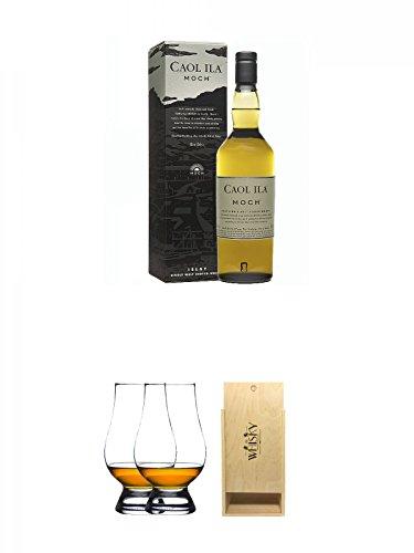 Caol Ila Moch Single Malt Whisky 0,7 Liter + The Glencairn Glass Whisky Glas Stölzle 2 Stück + 1a Whisky Holzbox für 2 Flaschen mit Schiebedeckel