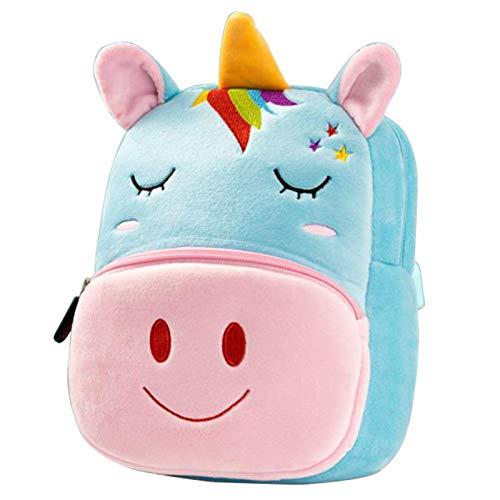 Nette Kleine Kleinkind Kinder Rucksack Plüsch Tier Cartoon Mini Kinder Tasche für Baby Mädchen Junge Alter 1-3 Jahre - Blaues Einhorn