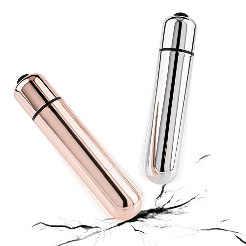 Grolebo Mini Massager 2 Packs,Wireless,Grade-Abs,Waterproof,Pocket Wand Massager for Head and Fingers 10 Speeds Silver/Rosegold