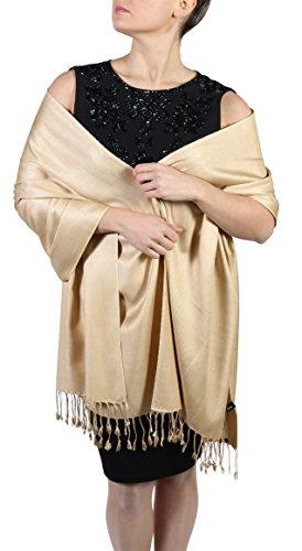 York Shawls Pashmina Chal Bufanda Estola - Acabado de borlas - Percha gratuita – Más de 20 colores - Hecho de mano (Dorado)