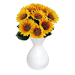 Celendi Artificial Sunflower Bouquet Decoration,Spring and Summer Plastic Fake Sunflower Artificial Flower Arrangement, Used for Wedding Family Kitchen Garden Decoration
