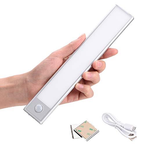 ZOESON Motion Sensor USB ultradünnes, leichtes LED-Licht, 37 LED-Lampen, Schrankbeleuchtung, eingebauter Akku, Sicherheitsnachtlicht für Schrank, Kleiderschrank, Küche, Schlafzimmer