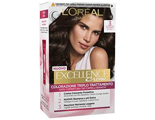 L'Oréal Paris Excellence Crema Colorante Triplo Trattamento Avanzato, 3 Castano Scuro