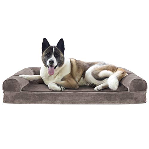 Furhaven Pet Dog Bed - Cooling Gel Memory Foam Faux Fur and Velvet Traditional Sofa-Style Living Room Couch Pet Bed with Removable Cover for Dogs and Cats, Driftwood Brown, Jumbo