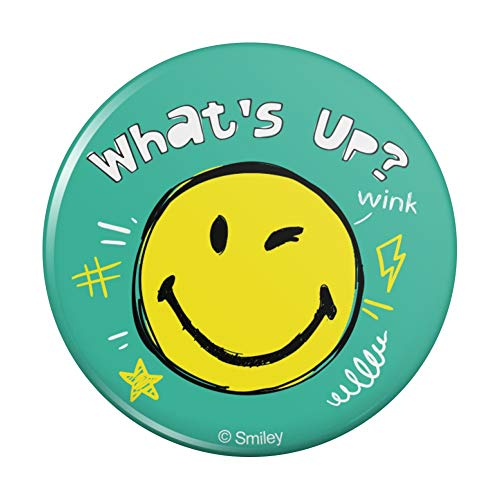 What's Up Winky Smiley Face Emoticon Officially Licensed Pinback Button Pin
