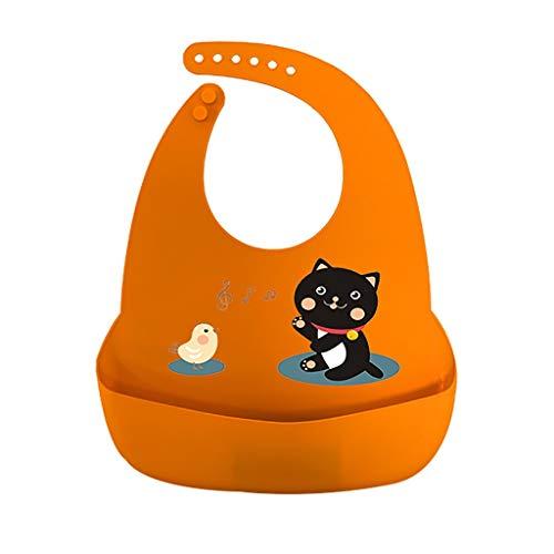 QFbp Baby Wasserdichtes Silikon Lätzchen,Faltbar Einstellbar Sanft Einfach Zu Säubern Wasserdicht Für Babymahlzeit Orange